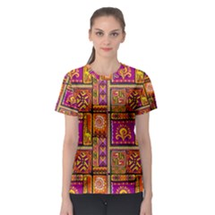 Traditional Africa Border Wallpaper Pattern Colored 3 Women s Sport Mesh Tee