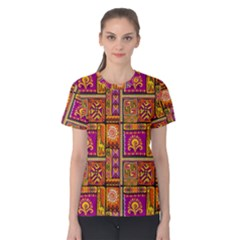 Traditional Africa Border Wallpaper Pattern Colored 3 Women s Cotton Tee
