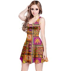 Traditional Africa Border Wallpaper Pattern Colored 3 Reversible Sleeveless Dress