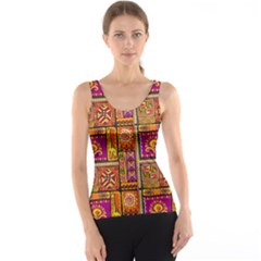 Traditional Africa Border Wallpaper Pattern Colored 3 Tank Top