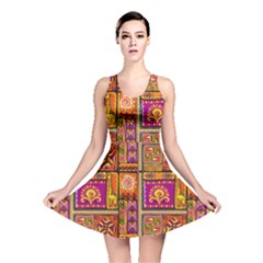 Traditional Africa Border Wallpaper Pattern Colored 3 Reversible Skater Dress