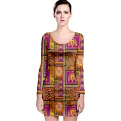 Traditional Africa Border Wallpaper Pattern Colored 3 Long Sleeve Bodycon Dress