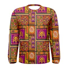 Traditional Africa Border Wallpaper Pattern Colored 3 Men s Long Sleeve Tee