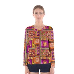 Traditional Africa Border Wallpaper Pattern Colored 3 Women s Long Sleeve Tee