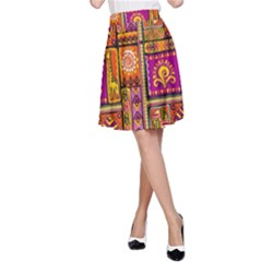 Traditional Africa Border Wallpaper Pattern Colored 3 A Line Skirt