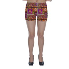Traditional Africa Border Wallpaper Pattern Colored 3 Skinny Shorts