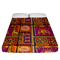Traditional Africa Border Wallpaper Pattern Colored 3 Fitted Sheet (king Size)