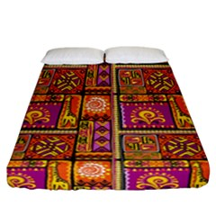 Traditional Africa Border Wallpaper Pattern Colored 3 Fitted Sheet (california King Size)