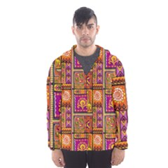 Traditional Africa Border Wallpaper Pattern Colored 3 Hooded Windbreaker (men)