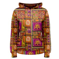 Traditional Africa Border Wallpaper Pattern Colored 3 Women s Pullover Hoodie