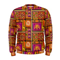Traditional Africa Border Wallpaper Pattern Colored 3 Men s Sweatshirt