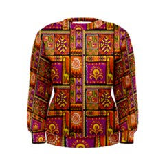 Traditional Africa Border Wallpaper Pattern Colored 3 Women s Sweatshirt