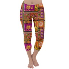 Traditional Africa Border Wallpaper Pattern Colored 3 Capri Winter Leggings