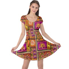 Traditional Africa Border Wallpaper Pattern Colored 3 Cap Sleeve Dress