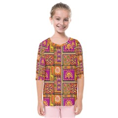Traditional Africa Border Wallpaper Pattern Colored 3 Kids  Quarter Sleeve Raglan Tee
