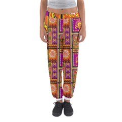 Traditional Africa Border Wallpaper Pattern Colored 3 Women s Jogger Sweatpants