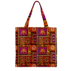 Traditional Africa Border Wallpaper Pattern Colored 3 Zipper Grocery Tote Bag