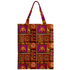 Traditional Africa Border Wallpaper Pattern Colored 3 Zipper Classic Tote Bag