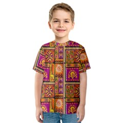 Traditional Africa Border Wallpaper Pattern Colored 3 Kids  Sport Mesh Tee