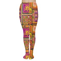 Traditional Africa Border Wallpaper Pattern Colored 3 Women s Tights