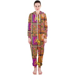Traditional Africa Border Wallpaper Pattern Colored 3 Hooded Jumpsuit (ladies)