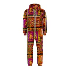 Traditional Africa Border Wallpaper Pattern Colored 3 Hooded Jumpsuit (kids)