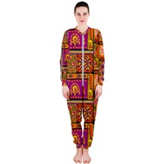 Traditional Africa Border Wallpaper Pattern Colored 3 Onepiece Jumpsuit (ladies)