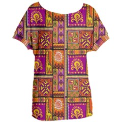 Traditional Africa Border Wallpaper Pattern Colored 3 Women s Oversized Tee