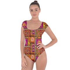 Traditional Africa Border Wallpaper Pattern Colored 3 Short Sleeve Leotard