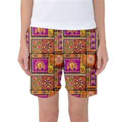 Traditional Africa Border Wallpaper Pattern Colored 3 Women s Basketball Shorts