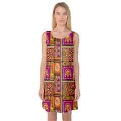 Traditional Africa Border Wallpaper Pattern Colored 3 Sleeveless Satin Nightdress
