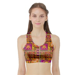 Traditional Africa Border Wallpaper Pattern Colored 3 Sports Bra With Border