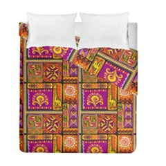 Traditional Africa Border Wallpaper Pattern Colored 3 Duvet Cover Double Side (full/ Double Size)