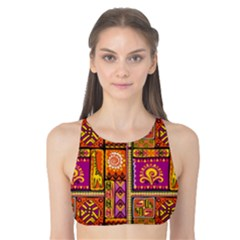 Traditional Africa Border Wallpaper Pattern Colored 3 Tank Bikini Top