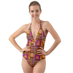 Traditional Africa Border Wallpaper Pattern Colored 3 Halter Cut Out One Piece Swimsuit