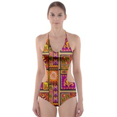 Traditional Africa Border Wallpaper Pattern Colored 3 Cut Out One Piece Swimsuit