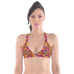 Traditional Africa Border Wallpaper Pattern Colored 3 Plunge Bikini Top