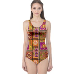 Traditional Africa Border Wallpaper Pattern Colored 3 One Piece Swimsuit