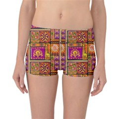 Traditional Africa Border Wallpaper Pattern Colored 3 Reversible Boyleg Bikini Bottoms