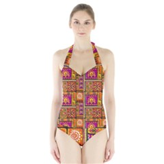 Traditional Africa Border Wallpaper Pattern Colored 3 Halter Swimsuit