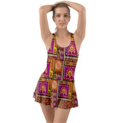 Traditional Africa Border Wallpaper Pattern Colored 3 Ruffle Top Dress Swimsuit