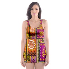 Traditional Africa Border Wallpaper Pattern Colored 3 Skater Dress Swimsuit
