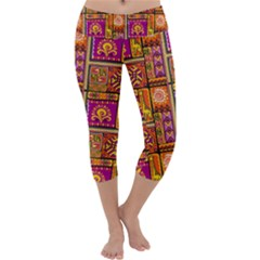 Traditional Africa Border Wallpaper Pattern Colored 3 Capri Yoga Leggings