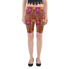 Traditional Africa Border Wallpaper Pattern Colored 3 Yoga Cropped Leggings