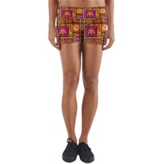 Traditional Africa Border Wallpaper Pattern Colored 3 Yoga Shorts