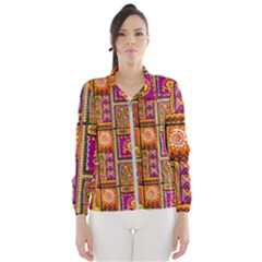Traditional Africa Border Wallpaper Pattern Colored 3 Windbreaker (women)