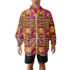 Traditional Africa Border Wallpaper Pattern Colored 3 Windbreaker (kids)