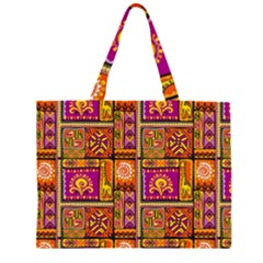 Traditional Africa Border Wallpaper Pattern Colored 3 Zipper Large Tote Bag