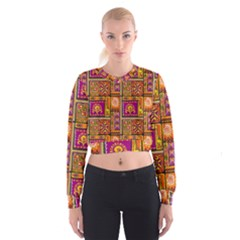 Traditional Africa Border Wallpaper Pattern Colored 3 Cropped Sweatshirt