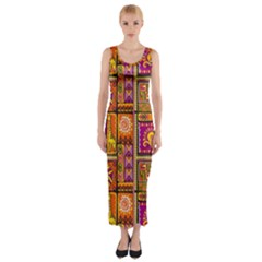 Traditional Africa Border Wallpaper Pattern Colored 3 Fitted Maxi Dress